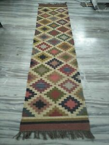 Handmade Jute Wool Patchwork Runner Reversible Large Carpet 2.6x10 Ft DN-2158
