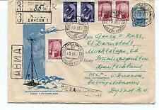 URSS CCCP Exploration Mission Base Ship Polar Antarctic Cover / Card Registered