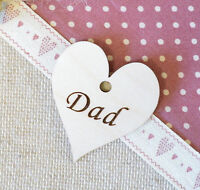 10 X  Wooden Hearts Engraved Personalised Dad Hearts Father's Day Tags 35 x 30mm