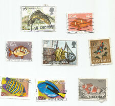 ;FISH; 8   various stamps of the world- used s*