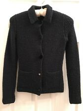 LANVIN Waffle Knit Textured Button Up Sweater Jacket Navy Small ORIG $1400