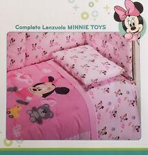 Set Lenzuola Lettino Baby Neonato Minnie Toys Rosa Disney Caleffi Scontatissimo