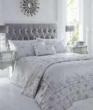 SUPER KING DUVET COVER SET RAVINA SILVER FLORAL LUXURY WOVEN JACQUARD ELEGANT