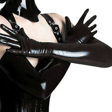 Celeb Opera Party Gloves Royal Black Leather Long Length Over Elbow Long Mittens