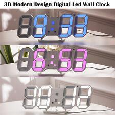 3D Modern Design Digital Led Wall Clock Alarm Table 12/24 Hour Display Snooze UK