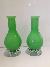COPPIA metà del secolo moderno brillante verde vetro incamiciato vasi Murano EMPOLI alsterfors