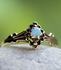 Antique Victorian Black Opal Belcher Buttercup Setting 14k Yellow Gold Ring 6.25