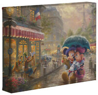 Thomas Kinkade Studios Mickey and Minnie In Paris 8 x 10 Canvas Gallery Wrap