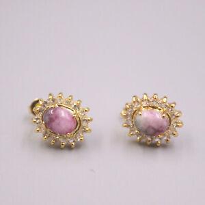 GP 18K Pink Jade Earrings / Heating Jade Luck Oval Zircon Stud Earrings Gift