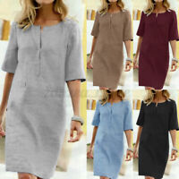 Women Summer Cotton Linen Midi Dress Ladies Pocket Tunic Shirt Dresses Plus Size