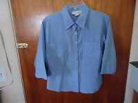 Womens Younique Clothing Size L Blue & White Checkered 3/4 Sleeve Shirt