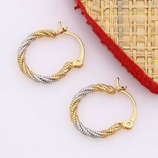 """Stunning 9ct 9K Yellow & white """"Gold Filled"""" Small Hoop Earrings. 20mm Gift"""