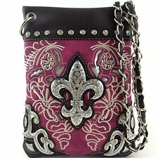 Western Cowgirl Purple Fleur de lis Cross Body Hipster Small Messenger Bag Purse