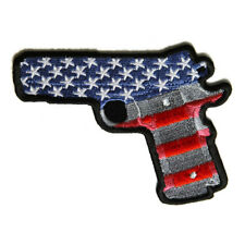Embroidered 9 Mm Gun With US Flag Sew or Iron on Patch Biker Patch
