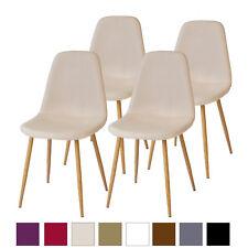 Esszimmerstühle FANO Beige 4er Set Retro Küchen-Stuhl Design Stühle Stoff Stuhl