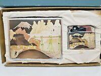 VINTAGE WORKING Memory of Japan Cigarette Lighter & Case SET / ORIGINAL BOX, NOS