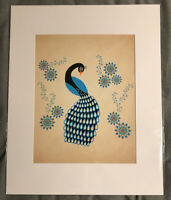 "Cristina Bianco Rare Illustration Children Animal Art Print 16x20"" Blue Peacock"