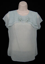 Ann Taylor LOFT Size MP Petite Light Blue Blouse Top Chiffon Ruffle Polka Dot