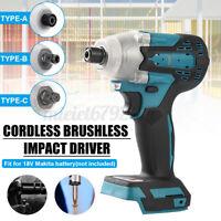 "Cordless Impact Wrench For Makita Blue Brushless 1/2"" 18V Li-ion Driver 800 Nm"