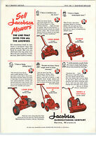 1952 PAPER AD Lawn Mowers Jacobsen Queen Manor King Worthington Leaf Mill
