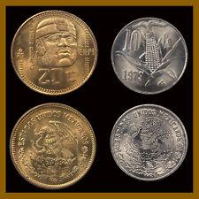 Mexico 10 & 20 Centavos (Cent) (2 Coin Set), 1977-1984 Eagle & Snake Olmeca