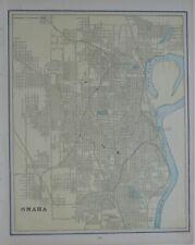 Original 1893 Map Omaha Nebraska Meat Packing Plants Railroads Streetcars Parks