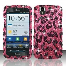 AT&T Pantech Flex Crystal Diamond BLING Hard Case Snap Phone Cover Pink Leopard