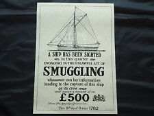 Smuggling Ship Poster 1782 Picture Pub Sign Nice Framed Bar Beer whiskey Gin Rum