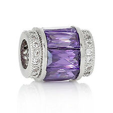 Copper European Charm Beads Cylinder Silver Tone Purple Cubic Zirconia