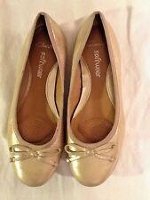 Ladies CLARKS SOFTWEAR 'Arizona Heat' Ballerina Flats Size 5 Gold, Bow, Comfort