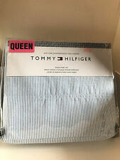 NEW TOMMY HILFIGER 4-PC QUEEN SIZE SHEETS BEDSHEETS SET BLUE WHITE OXFORD STRIPE