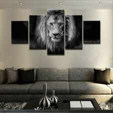 Animal Lion Painting 5 Piece Canvas Print Wall Poster Art