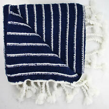 SALE - WINTER BLANKET | THROW - French Blue & Cream - LUXURIOUSLY SOFT