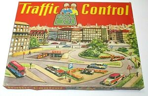 1959 Technofix No. 295 German Traffic Control Tin Toy Set with 3 Cars