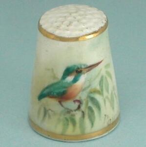 Hand Painted Royal Worcester Kingfisher Bird Thimble by Wm Powell * 1933 Mark