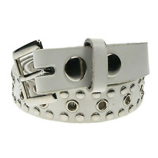 "Ladies Womens PU Leather 1.25"" Wide Belt In Black White Studded Rivet & Eyelet"