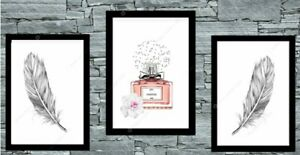 Set of 3 Perfume Feather Grey Prints Bedroom Print Poster Art Wall Pictures A4