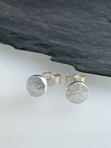 Hand Forged 925 Sterling Silver Sparkly Hammered Pebble Ear Stud Earrings 6mm