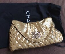 VERIFIED Authentic RARE Chanel Gold Paillette Sequins Evening Bag Clutch
