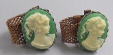 RARE Mens Vintage Jewelry GREEN CAMEO MESH WRAP AROUND CUFFLINKS M-7