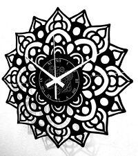 Orologio in Vinile da Parete Decorativo Fiore Artwork Mandala Vintage Handmade