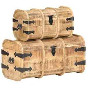 Storage Chests 2 Pieces Solid Mango Wood