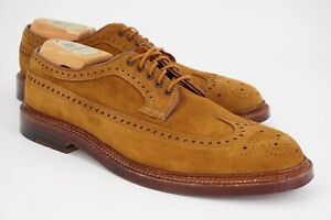 NEW | $618 ALDEN 9 D BROWN SNUFF SUEDE LONG WING TIP GUNBOATS SHOE TREES