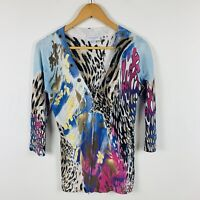 Queenspark Womens Top Size Small (AU 8) Retro Design Long Sleeve Embellished