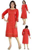Women Indian Kurti Tunic Red Cotton Luxury Pret Top Kurta Shirt Dress RP01