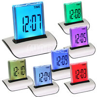 7LED Change Colour Digital LCD Alarm Clock with Thermometer Calendar Snooze Gift