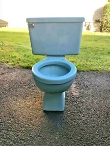 "Vintage 1970's Blue Toilet Bowl and Tank Briggs 15"" High Round bowl"