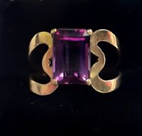 14k Solid Yellow Gold Amethyst Ring Size 6.75