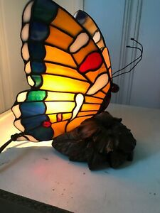 Stained Glass Handcrafted Butterfly Night Light Table Desk Lamp.