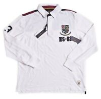 Nautica Mens $69.50 White Long Sleeve Rugby Polo Shirt Size Small